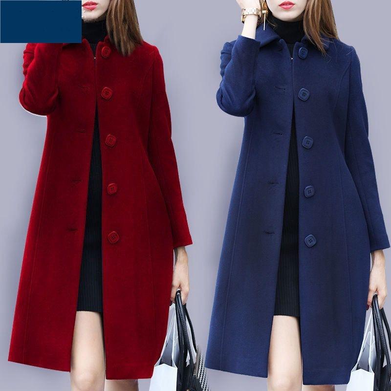Medium Length Hand Made Women Collar Winter Long Sleeve Woolen Suit Clothes Coat With Pockets