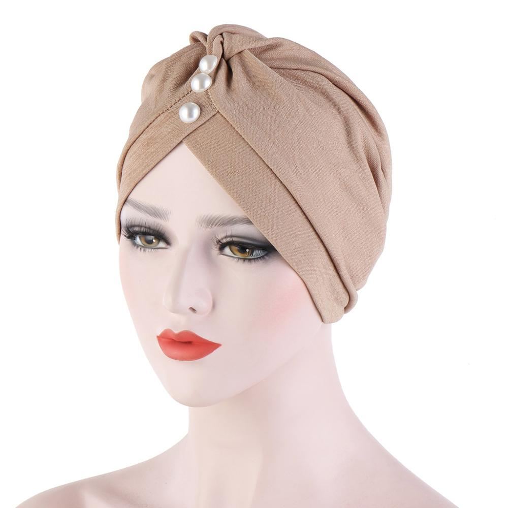 Forehead Wrinkled Pearls Turban Cap Muslim Hat For Women Turban Bonnet Femme Musulman Turbante Mujer Indian Hat