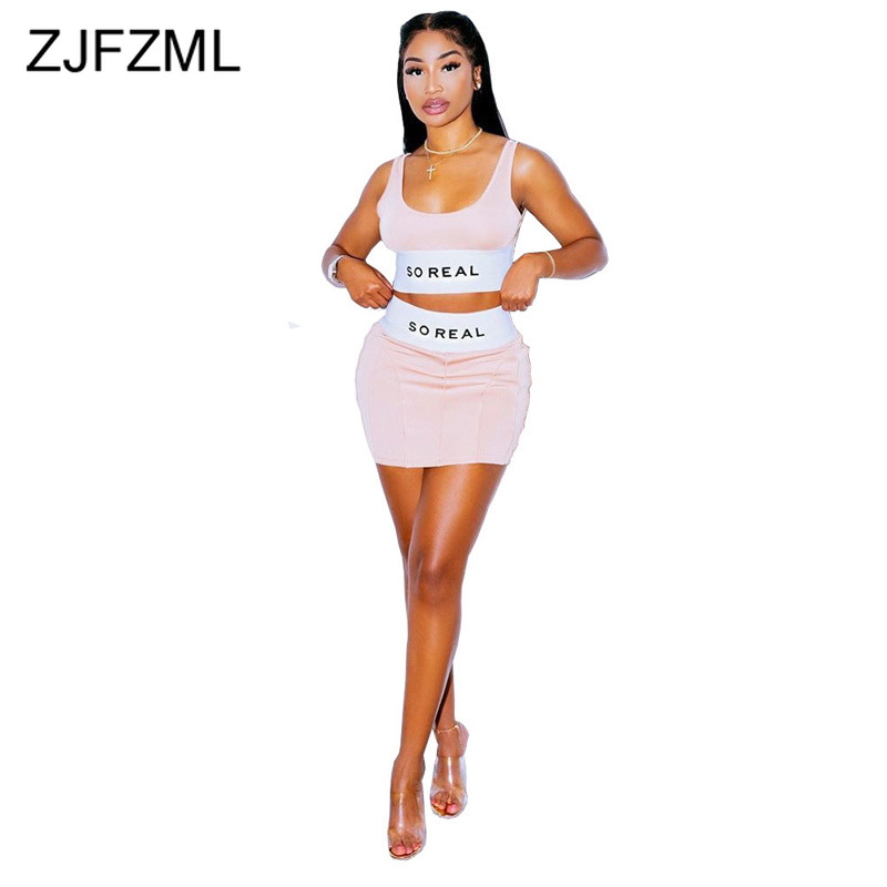 So Real Letter Print Two Piece Outfit Women's Set O Neck Sleeveless Tank Top And High Waist Mini Skirt Sexy Slim Fit Sweatsuits