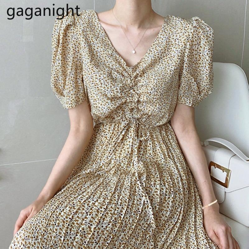 Gaganight женское Плиссированное длинное платье с v образным вырезом на завязках с пышными рукавами, тонкое Элегантное летнее шифоновое платье в стиле ретро|Платья|   | АлиЭкспресс