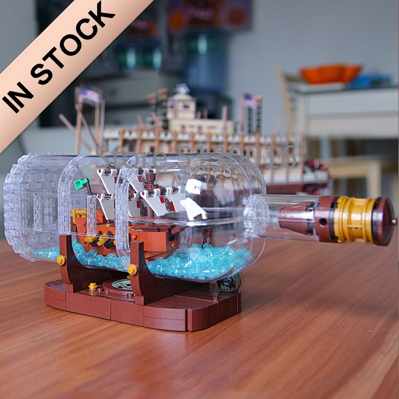 16051 In Stock Ideas Ship Boat In A Bottle Pirates Of The Caribbean Ship 1078Pcs 21313 Model Building Blocks Bricks Toys