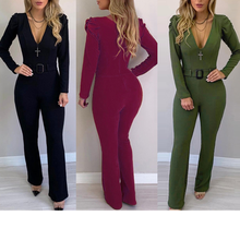 Autumn Long Sleeves Jumpsuit Long Sleeves V Neck with Waist Belt Slim Women Black Wine Red Army Green Female Fashion New Rompers(China)