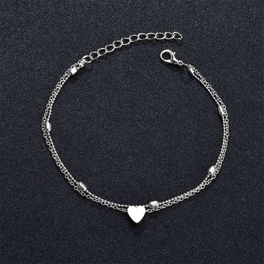 Stainless Steel Heart Anklets Bracelet Love Heart Charm Bohemian Ankle Bracelet Summer slippers sandals Shoe Beach Bracelet