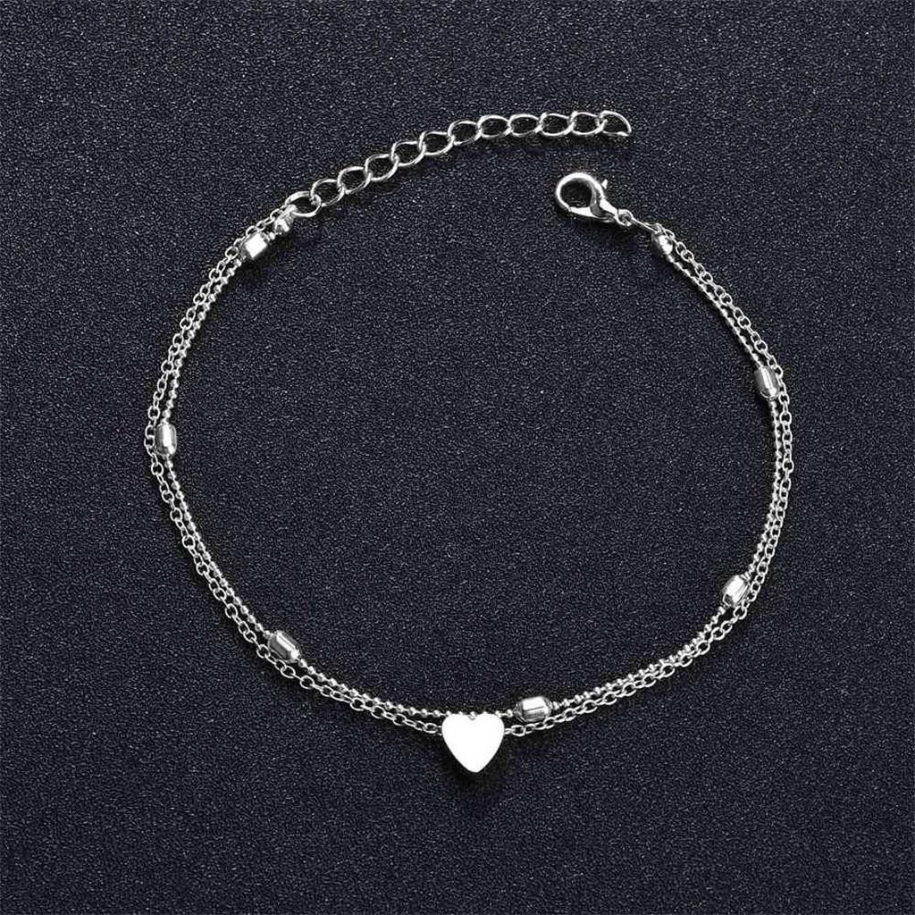 Stainless Steel Heart Anklets Bracelet Love Heart Charm Bohemian Ankle Bracelet Summer slippers sandals Shoe Beach Bracelet