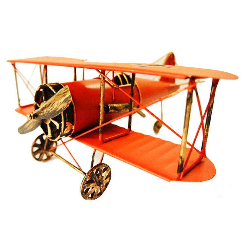 Creative Home Decoration Iron Model Knick-knacks Vintage Tin Airplane German WWI Model Red Interior Living room Decoration image