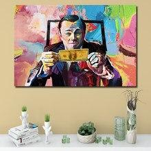 Lienzo de Arte de lobo de la pared, cuadro impreso de pared artística de calle, Leonardo, DiCaprio, dinero, habla, pared artística