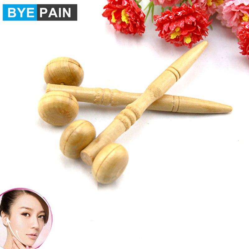 BYEPAIN Wooden Face Roller Massager 360 Rotation Full Body Shape Face Slim Massage Tools Lifting Wrinkle Remover