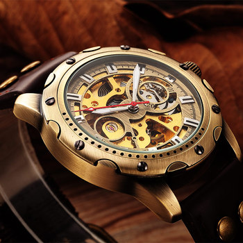 цена на SHENHUA Retro Automatic Mechanical Watches Men Brand Luxury Leather Skeleton self wind Men WristWatch Gift relogio masculino