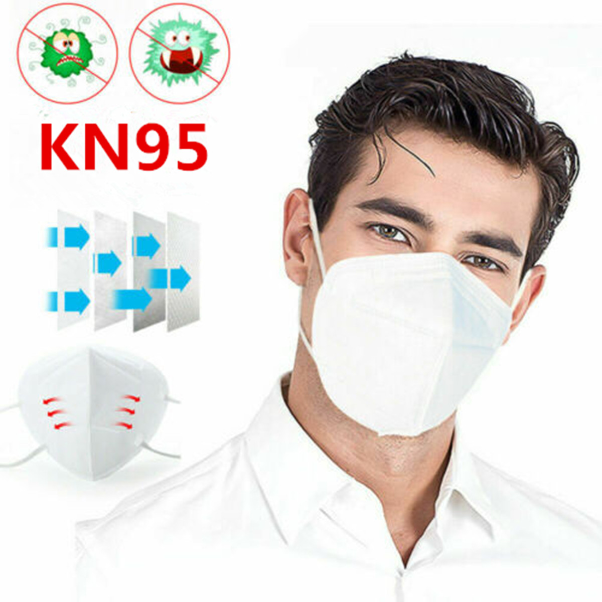 2Pcs KN95 N95 FFP2 4-Layer Safety Protective Mouth MaskAnti Particulate Respirators Face Mask Breathable Anti-Dust Filter Masks