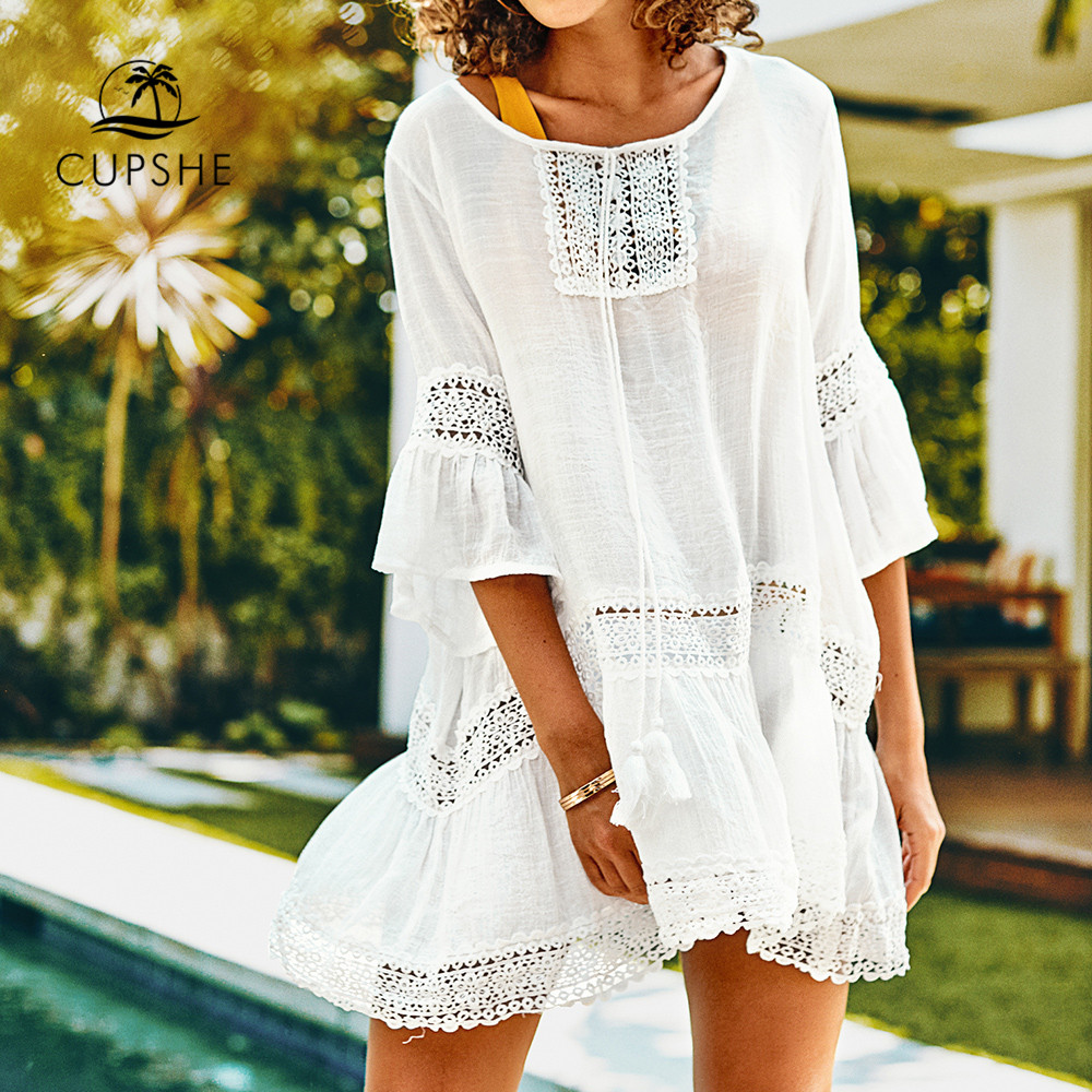 CUPSHE  White Ruffled Tunic Cover Up Sexy Cut Out Lace-up Crochet Beach Dress 2019 Summer Bathing Suit Women Beachwear