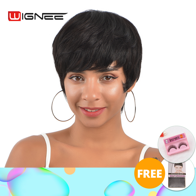 Wignee Short Human Hair Wigs For Women Straight Bob Hairstyle Brazilian Remy Hair 150% High Density Natural Black Wig #1B Color