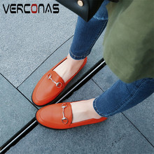 VERCONAS Classic Design Casual Women Pumps Concise Genuine Leather Metal Decoration Round Toe Low Heels Basic Shoes Woman Spring