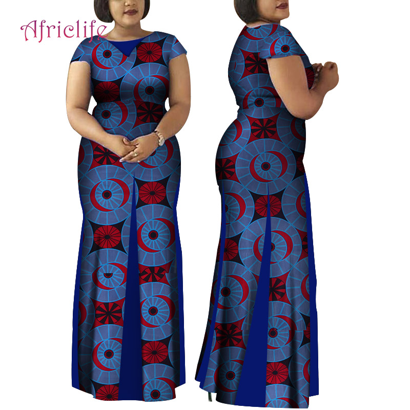 WY4148 Women African Clothing Bazin Riche Robe Africaine Dress New Arrival 2020 Women Plus Size Pure Cotton Long <font><b>Mermaid</b></font> Dress image