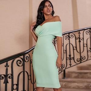 Image 2 - Cerf dame été femmes moulante robe de pansement 2019 nouveau vert hors épaule robe de pansement rayonne Sexy célébrité robes de soirée Club