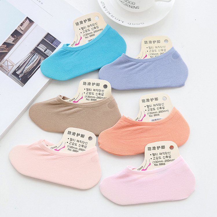 4-Summer Thin Section Candy-Colored WOMEN'S Socks Velvet Invisible Ankle Sock Women's Silica Gel Anti-slip Women's Children Sock