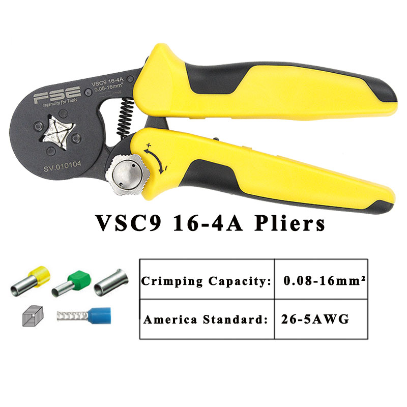 08 Adjustable Terminal Crimp 2 Crimping Tool 23 16 Precise VSC9 Tube Pliers Hand Bootlace 16mm 0 HSC9 5AWG 4A 4A 16