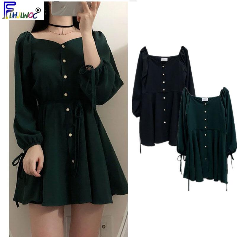 Image 4 - A Line Dresses Women Fashion Korea Japan Style Design Cute Sweet Little Back Dress Party Mini Button Vintage Dress Tunic 9310Dresses   -