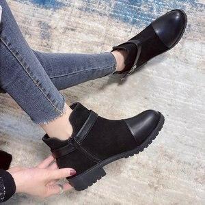 Boots Women 2020 New Autumn Winter Women's Boots European and American Style Side Zipper Short Boots Women's Flat Boots