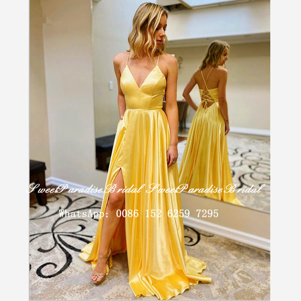 Gold Yellow A Line Long Bridesmaid Dresses 2020 Sexy Side Split Criss Crosss Back Sweetheart Wedding Party Dress Vestidos