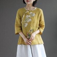 Primavera verão retro fivela camisa superior chinês estilo nacional bordado três quartos manga floral cheongsam camisas