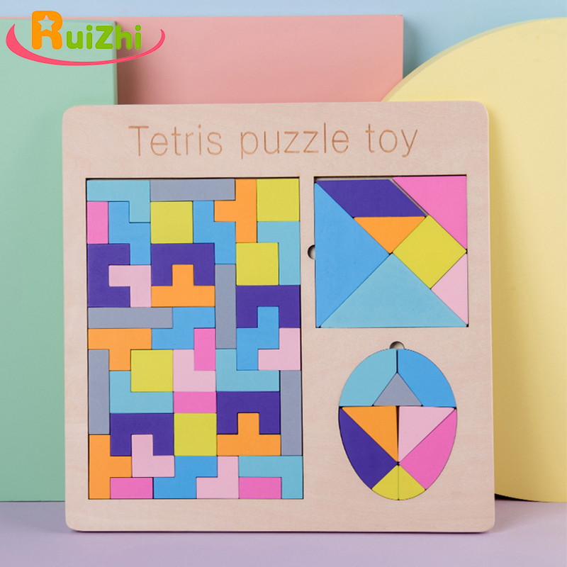 Ruizhi Three-In-One Wooden Tetris Puzzle Toy Children  Educational Toy Tangram Puzzle Montessori Jigsaw Puzzle Board Set RZ1140