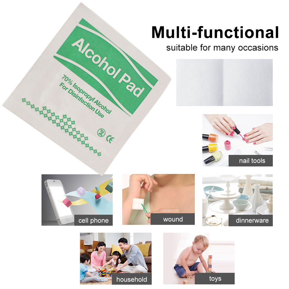 100pcs/lot Alcohol Pads Formula Wipes Pads Disposable Count Wrapped Portable Alcohol Prep Wipe Nail Clean Phone Multi-functional