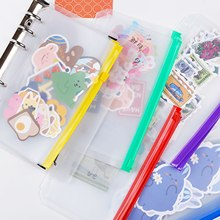 24pcs Transparent Pockets Filing Bags 6 Holes Binder Zipper Folders Loose Leaf Pouch A6 For 6-Ring Notebook