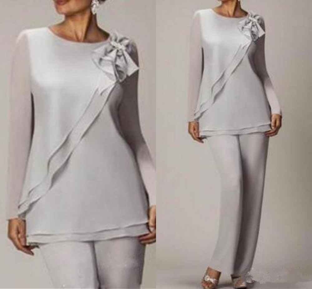 Graceful Silver Chiffon Mother Of The Bride Pant Suits Simple Cheap Long Sleeves Weddings Mother Of The Bride Dresses Two Pieces