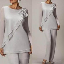 Graceful Silver Chiffon Mother Of The Bride Pant Suits Simpl