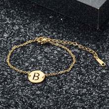 Fabulous 100% Real Stainless Steel Gold Filled A-Z Initial Name Letter Charm Bracelet for Women Female