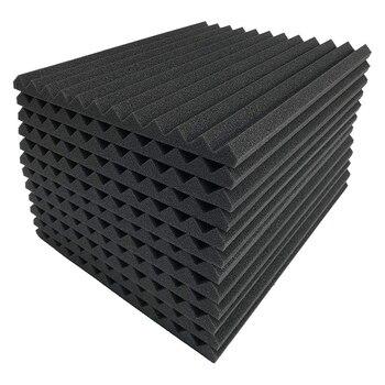 12 Pcs Black Acoustic Panels Soundproofing Foam Acoustic Tiles Studio Foam Sound Wedges 2.5 X 30 X 30cm
