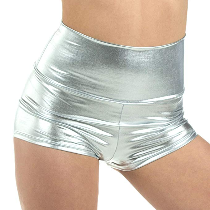Gymnastics Cheer Metallic Dance Booty Spandex Lycra Shorts Women Ballet Shiny Metallic Shorts