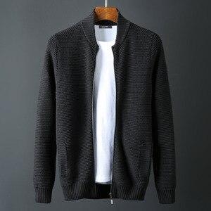 Стоячий воротник, мужской роскошный 1010% хлопок, на молнии, зимний однотонный приталенный свитер, мужской плюс размер 6XL