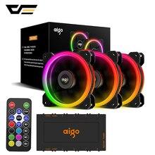 Чехол для компьютера darkFlash Aigo DR12 вентилятор охлаждающий вентилятор для ПК светильник RGB регулируемый светодиодный 120 мм тихий+ ИК пульт дистанционного управления кулер вентиляторы процессор игровой чехол