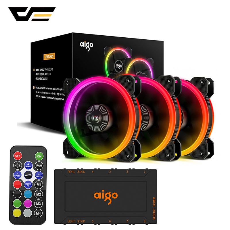 DarkFlash Aigo DR12 Computer Case Fan PC Cooling Fan Light RGB Adjust LED 120mm Quiet + IR Remote Cooler Fans CPU Gaming Case