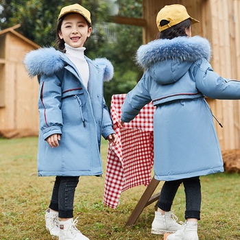 Girls down jacket 2019 new style style, long style, Korean version of children's cuhk children's thick coat ND028