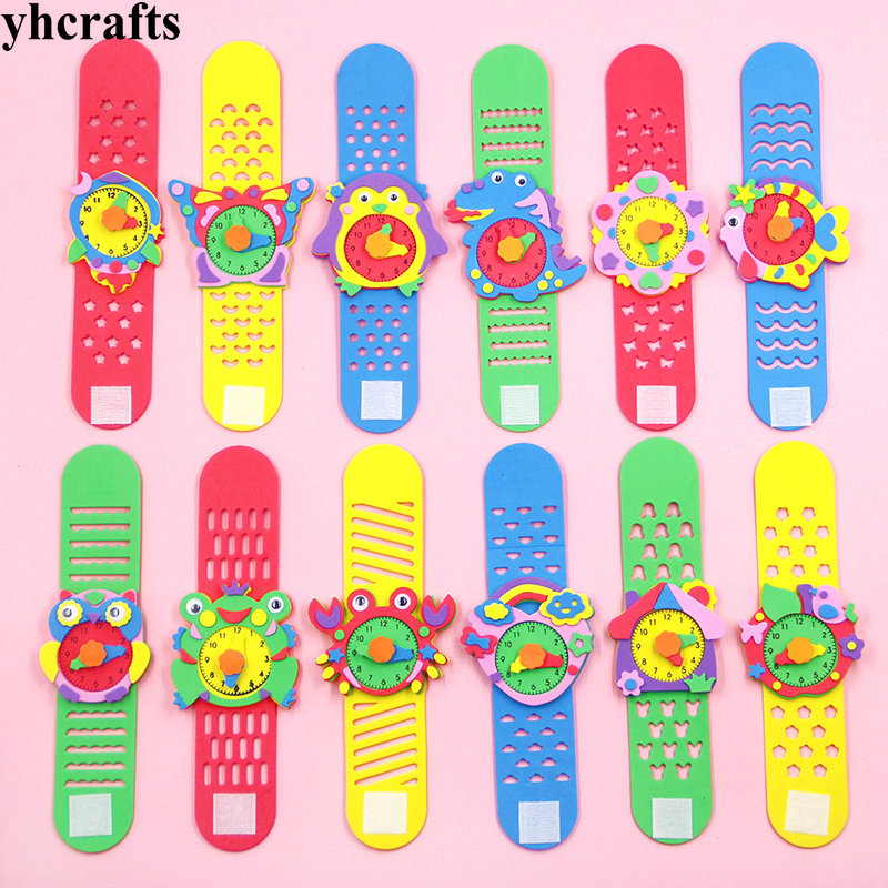 12PCS/Lot DIY Foam Cartoon Watch Crafts Kits Creative Handmade Diy Material Early Education Simulation Toy School Award Birthday