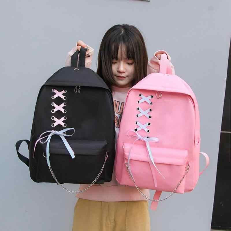 4 pièces/ensemble bande chaîne sac à dos fourre-tout femmes toile voyage épaule stylo sacs décontracté étudiant sac d'école sacs de plein air Mochila