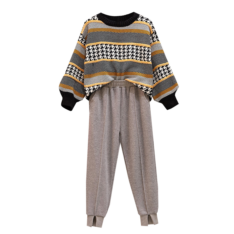 Large Plus Size Women Sports Suit Sweater Tracksuit Sweat+Sport Pants Two Piece Set Fashion Sportwear Casual Matching Set