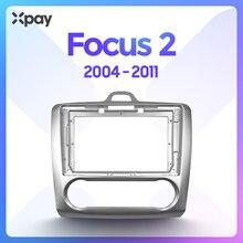 Xpay painel automotivo, painel estéreo 2din de 9 polegadas, painel de rádio para carros ford focus 2 2004-2011 para montagem moldura dupla do painel do cd do din