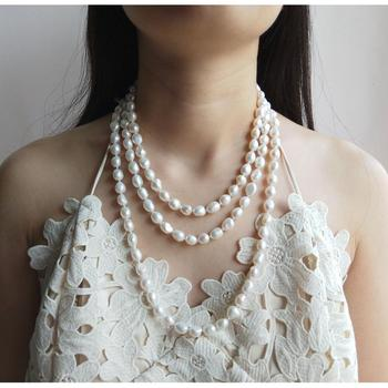 LiiJi Unique 8-9mm White Freshwater Baroque Pearl  Necklace 160cm Long Elegant Necklace Fashion Jewelry For Women Party Wedding