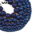 Круглые бусины WLYeeS из голубого лава, 4, 6, 8, 10 мм, незакрепленные бусины из натурального вулканического камня для самостоятельного изготовлен...