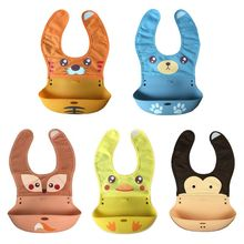Waterproof Baby Silicone Bibs Cartoon Animal Infant Feeding Food Catcher Pocket XXFE