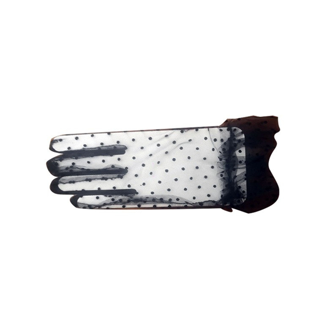 Women's Sexy Guantes Transparentes Dot Print Black White Mesh Tulle Gloves Female Club Prom Party Dancing Dress Glove 4