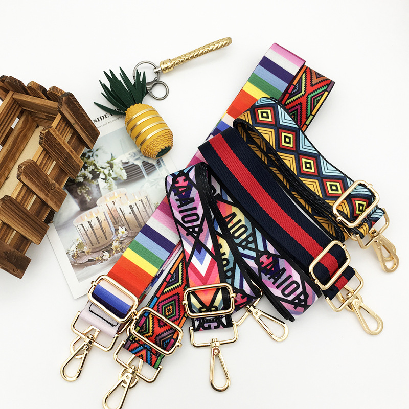 Floral Print Nylon Strap For Shoulder Bag Traditional Geoetric Wide Handle Gold Hanger Belt Straps For Crossbody Women Bag