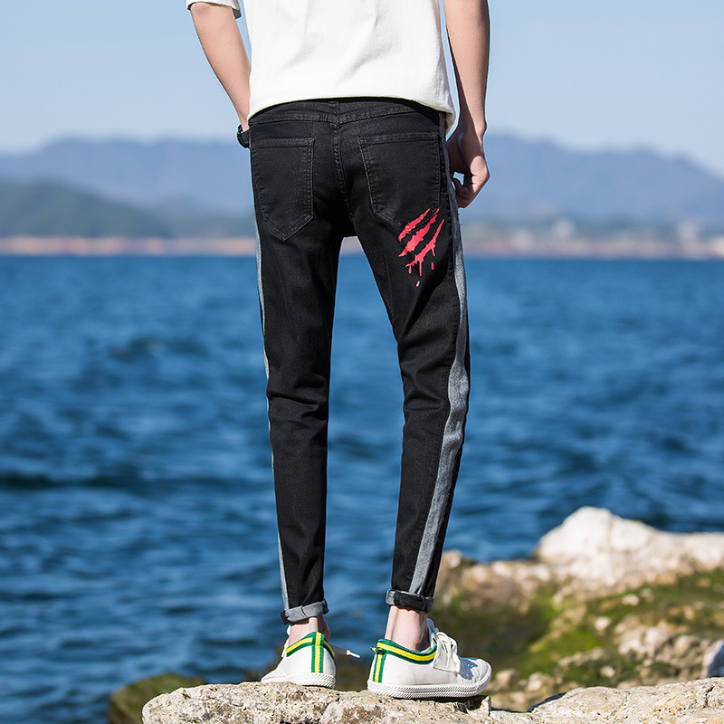 Spring And Summer 9 Points Jeans Men's Slim Fit Pants Teenager Fashion Man Cool Printed Korean-style Skinny Pants