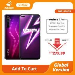 Realme 6 Pro мобильный телефон 8 ГБ ОЗУ 128 Гб ПЗУ 90 Гц глобальная версия Snapdragon 720G 30 Вт флэш-зарядка 64MP камера смартфон 6,6 дюймов