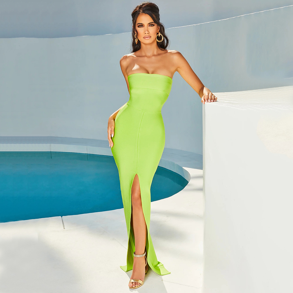Adyce 2020 New Arrivals Green Bandage Dress Women Sexy Strapless Split Sleeveless Hot Bodycon Club Celebrity Evening Party Dress