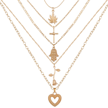 Bohemian Multi layer Pendant Necklaces For Women Fashion Gold Heart Rose Leaf Cross Charm Chains Necklace 2019 Jewelry