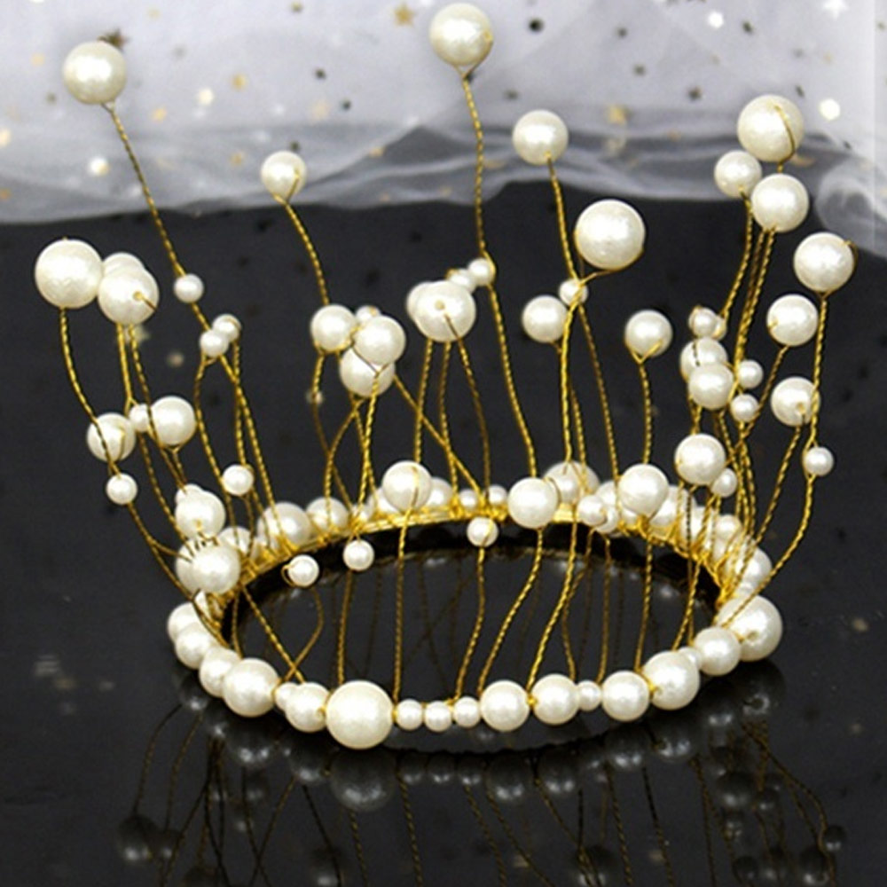 Cake Topper Cupcake Flags Handmade Pearl Princess Crown Kids DIY Party Decorations Kitchen Celebration Creative Beautiful in Cake Decorating Supplies from Home Garden